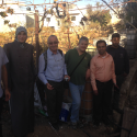 From right to left Fadi (homeowner), Majdi (Palestinian contractor), Clive Lipchin (Project Director), Shlomo Kimchi (Project Engineer), Sawsan (House of Water and Environment Project lead), Fadi (AJEEC consultant)