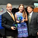 Peacebuilder Award recipients David Lehrer of the Arava Institute for Environmental Studies, left, and BlinkNow founder and CEO Maggie Doyne, center, with CRCC Acting Director Jonathan Golden, right.