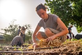female student working in vegetable garden